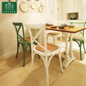 保特美式简约餐桌人多长方形拼色实木美式咖啡桌组合小北欧餐桌