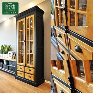 保特美式储物柜书柜功能柜餐边柜拼色客厅地中海实木装饰柜定制